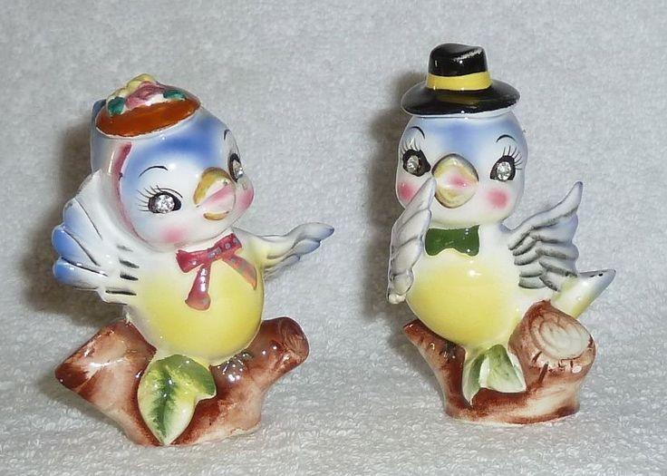Fantastical Bird Salt And Pepper Shakers. Vintage Napco Bluebird Blue Bird Rhinestone Eyes Salt and Pepper Shakers  Lefton 51 best Retro images on Pinterest