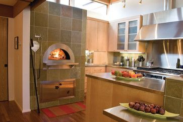 Indoor Wood Fired Pizza Ovens - modern - kitchen - other metro - Mugnaini  Hood, Stainless counters