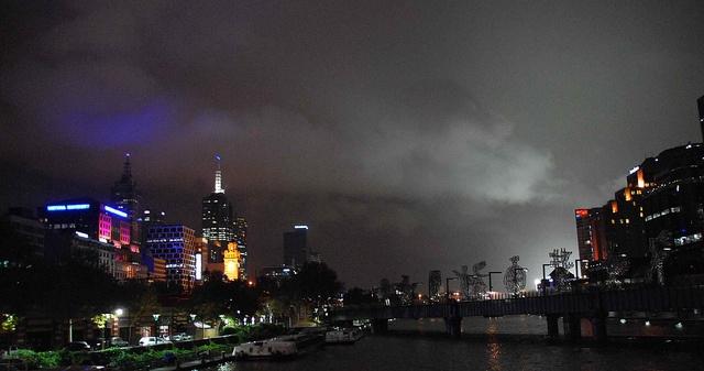 Melbourne at night by wadlingbury, via Flickr