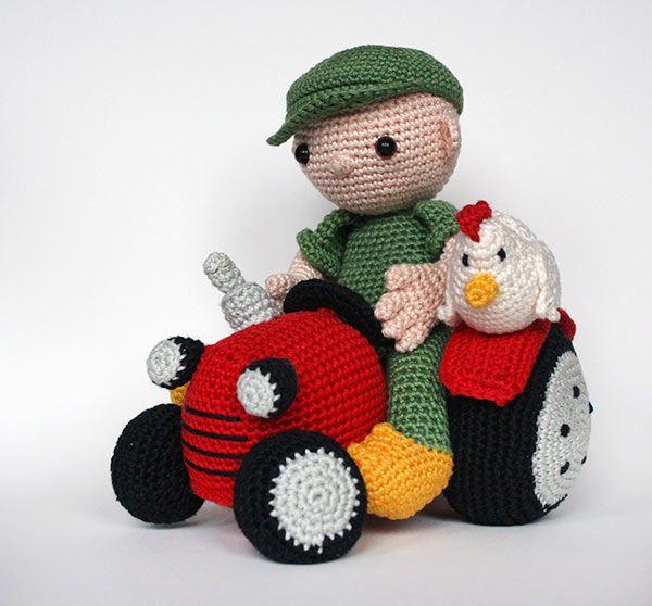 Farmer And Tractor Amigurumi Pattern - http://pinterest.com/Amigurumipins