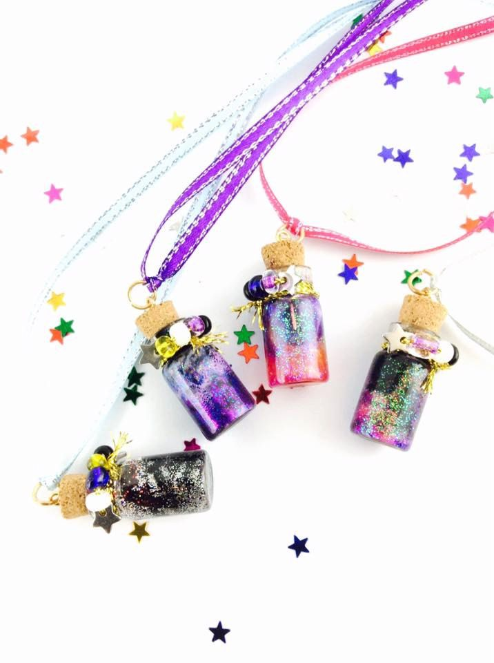 Galaxy in a bottle space dust charm. Glass vial kawaii necklace, cork bottle pendant.Silver and black. Ready to ship. by spacecakedesigns on Etsy