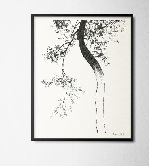 Drawing of a den pine-tree reproduction poster door RoelvanDelden