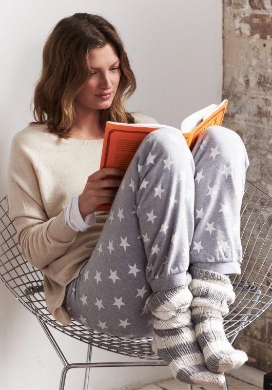 Star Print Slim Leg Joggers in Grey Marl from hush