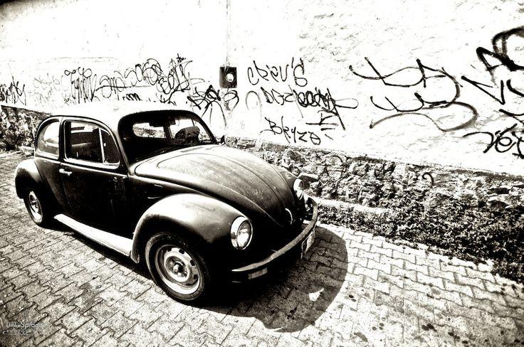 Volkswagen Beetle & Graffitied Wall - Oaxaca, Mexico