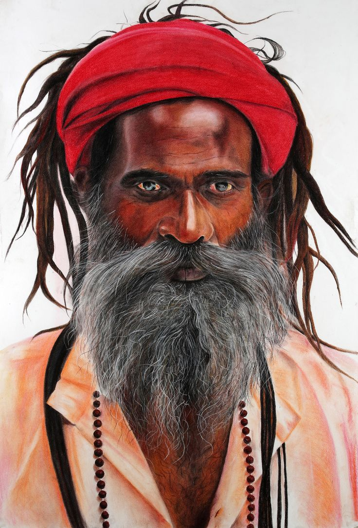 Laal Pagri Baba (Red Turban Baba)   A laal pagri (red turban) to keep his matted hair... An impeccable shine on his forehead... His eyes can see everything unfold as it is... An immediacy and absolute calm in his gaze... This world and above are of no surprise to his intelligent ways  Size 30X44 Medium: Soft Pastels on Paper Price: 12,00,000/-