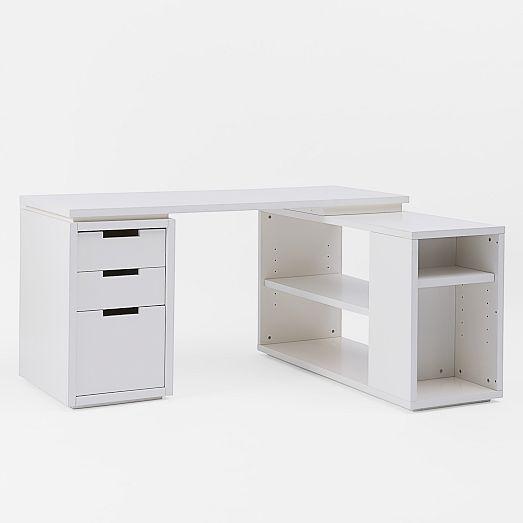 Modular Office L Shaped Desk Set   White | West Elm