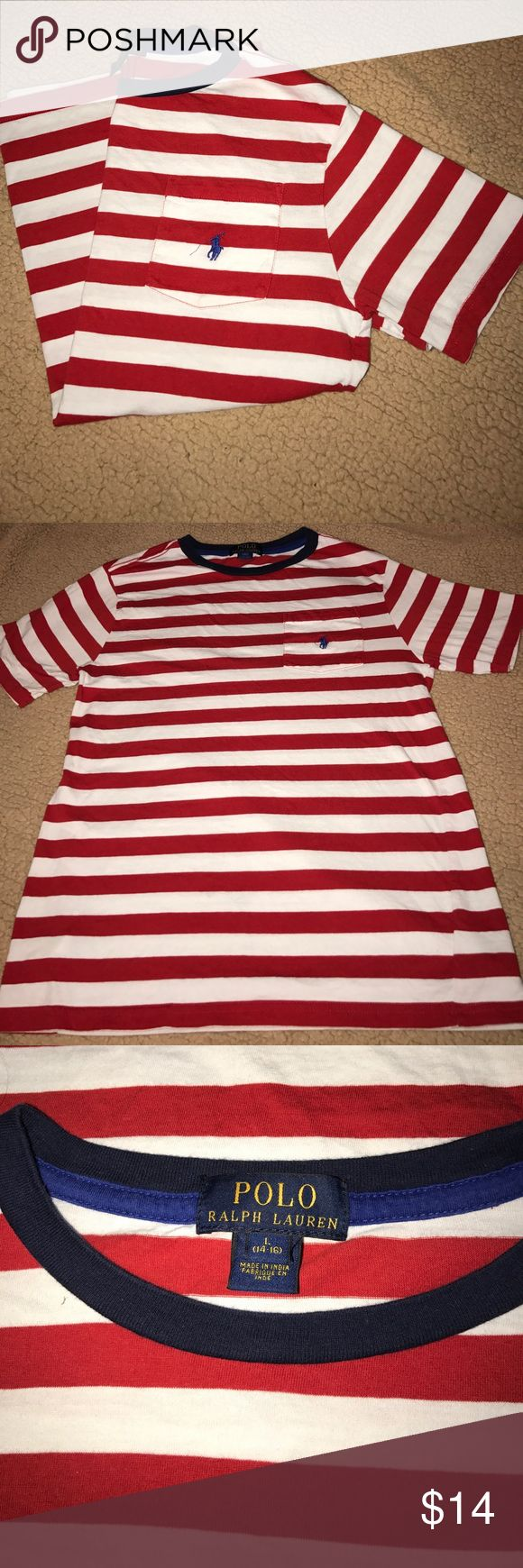 Polo Ralph Lauren t shirt Red and white striped polo pocket t shirt navy lining &a horse size YL fits women's small Polo by Ralph Lauren Tops Tees - Short Sleeve