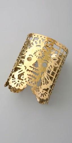 Sugar skull gold cuff