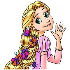 「塔の上のラプンツェル」のスタンプ。長い髪が特徴のプリンセス、ラプンツェルはもちろん、フリンやカメレオンのパスカルなどバラエティ豊かなラインナップ♪