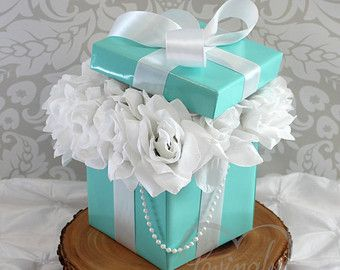 Centerpiece BLING Box with White Silk Roses by LovinglyMine