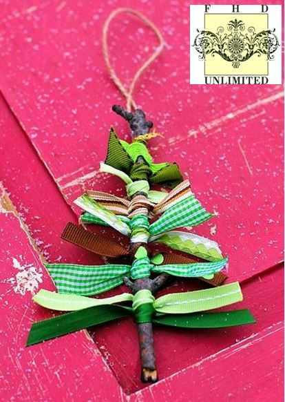 Great Christmas Craft Idea! Ribbon scraps tied to rustic twigs. Imagine an ornament tree filled with these colorful hand crafted ornaments!