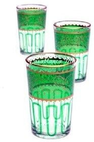 Moroccan Tea Glasses Essaouira Green eclectic everyday glassware