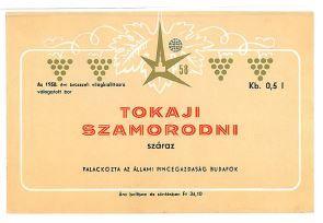Vintage Hungarian Wine Label, Budafok, Tokaji Szomorodni, 1958