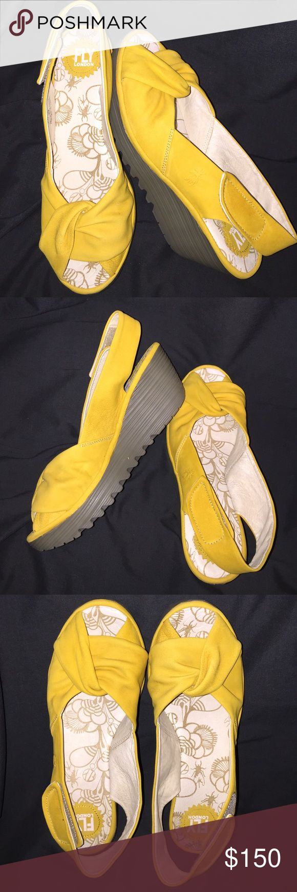 Fly London sling back wedge sandal Super soft leather. Velcro closures by heel. Mustard yellow. New. Never worn. Fly London Shoes Sandals