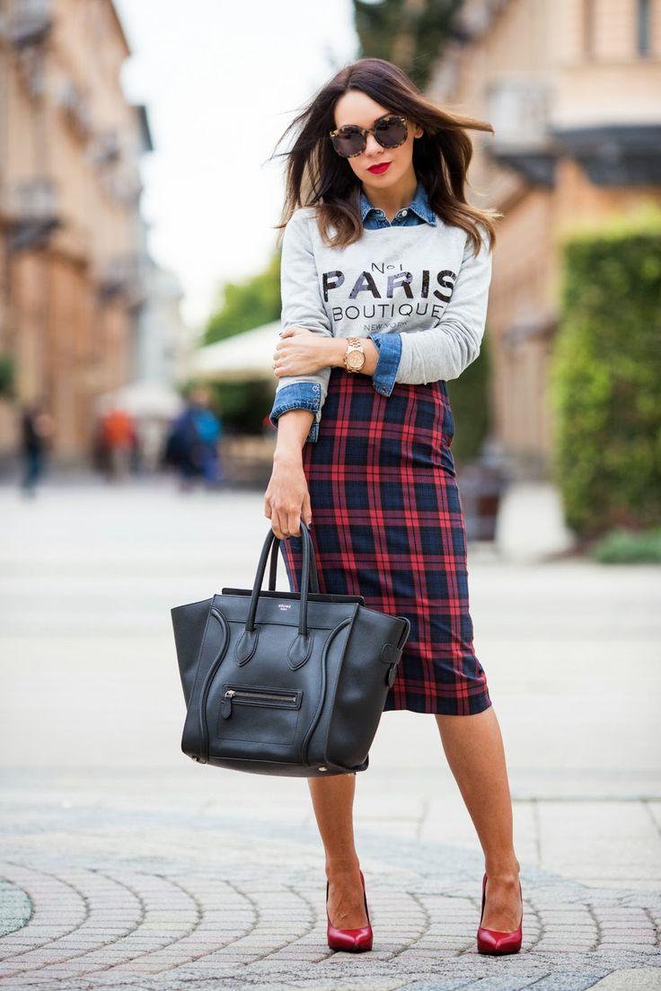 Chambray shirt, message sweatshirt, plaid skirt