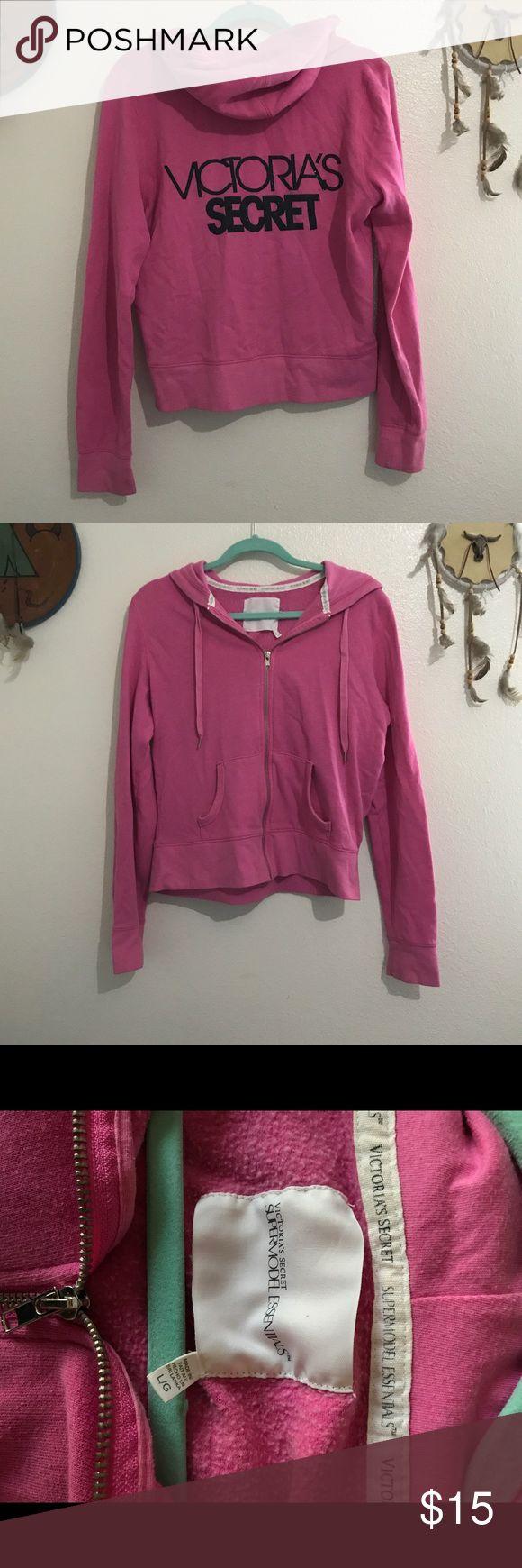 Victoria's Secret zip up hoodie Victoria's Secret Pink zip up hoodie size Large Victoria's Secret Sweaters
