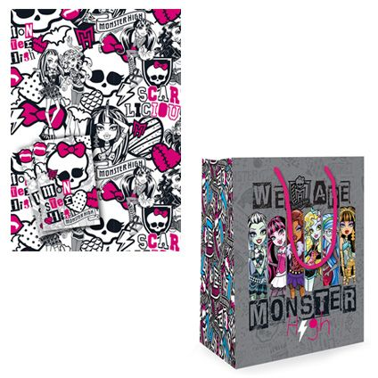 Monster High Gift Bag and Gift Wrap & Tag set available from Publishers with Free UK Delivery for only £5 at https://www.danilo.com/Shop/Cards-and-Wrap/Birthday-Packs/Monster-High-Wrap-and-Bag-Pack