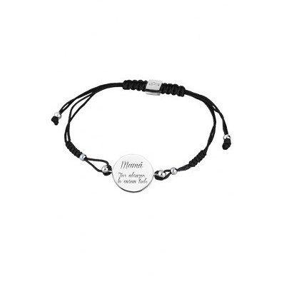"Pulsera #Lotus Silver ""Mamá tus abrazos lo curan todo"". Esta bonita #pulsera esta fabricada con cordón negro y plata de ley. http://ift.tt/2dWMCYG"