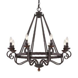 Quoizel Noble 32-In 8-Light Rustic Black Mediterranean Candle Chandelier Nbe5008rk