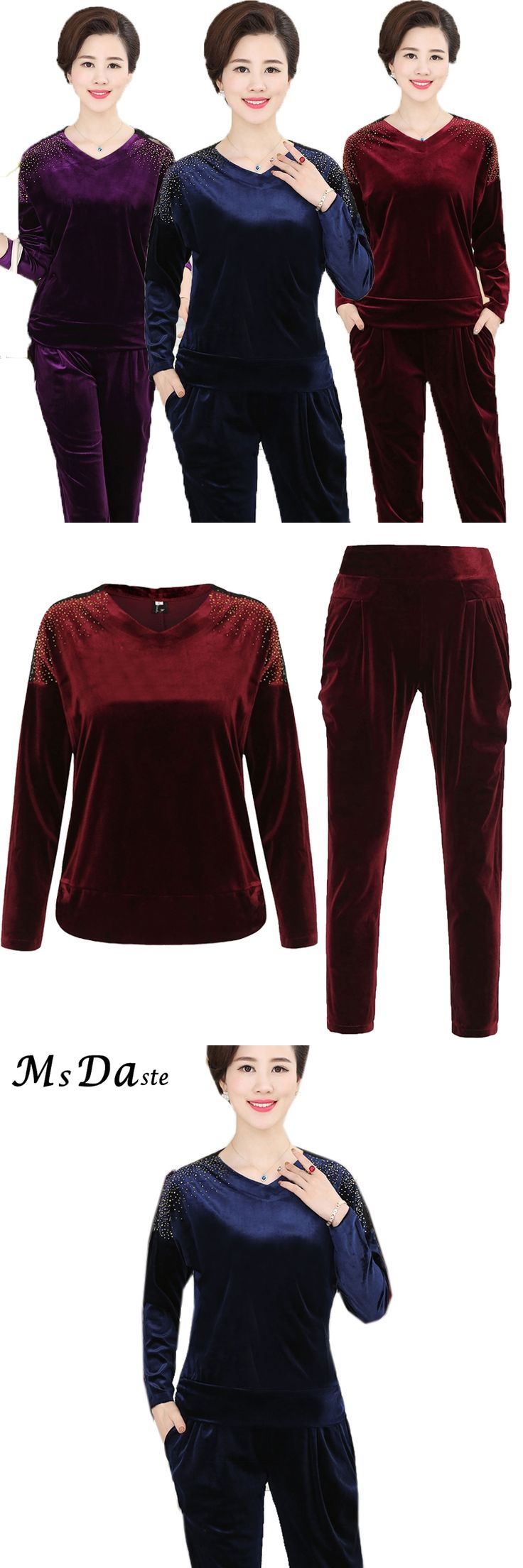 2017 Women Clothing Two Piece Set: hoody+pants Stretchy Lady Tracksuit Velvet Conjunto Feminino Blue Red Purple Plus Size XL~4XL