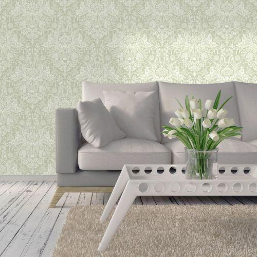 Harlen Woodland Damask Wallpaper Sage Green Holden 90162 ...