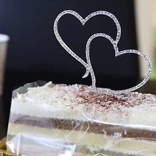 1Pcs Romantic Crystal Rhinestone Silver Double Heart Cake Topper Wedding Decoration 2018 - $2.99