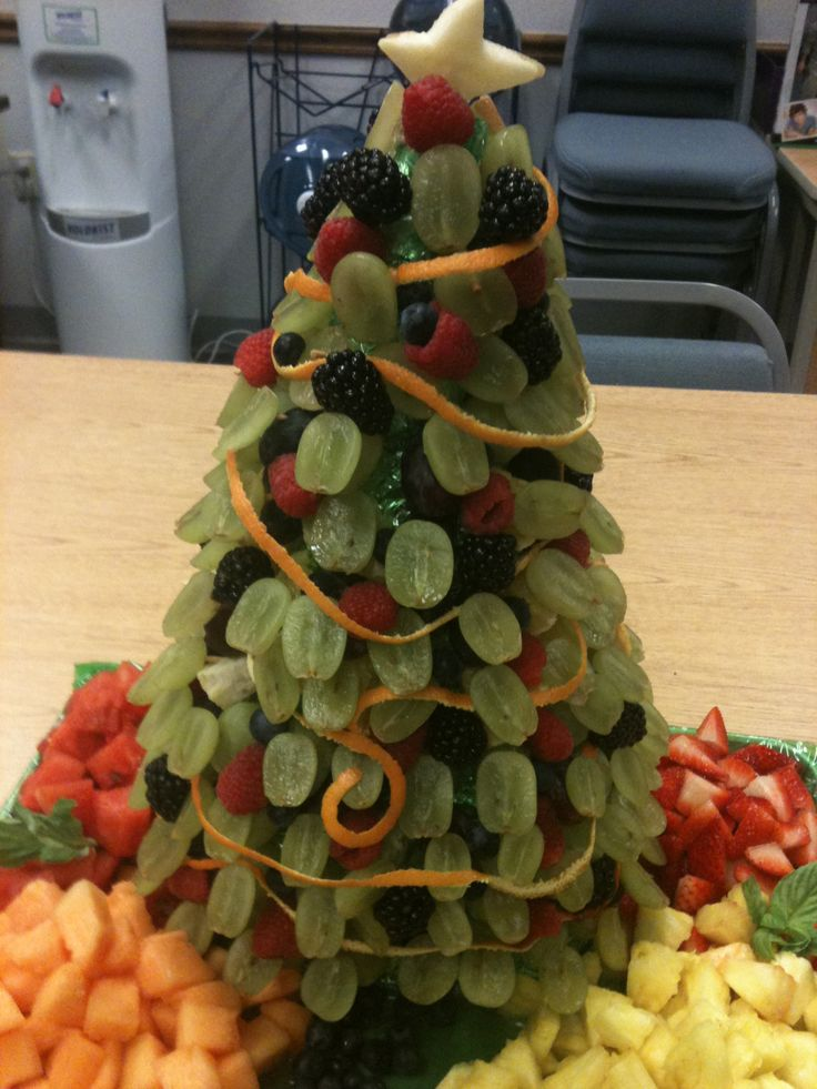 Christmas tree shaped fruit tray for the holidays - Christmas tree shaped appetizers ...