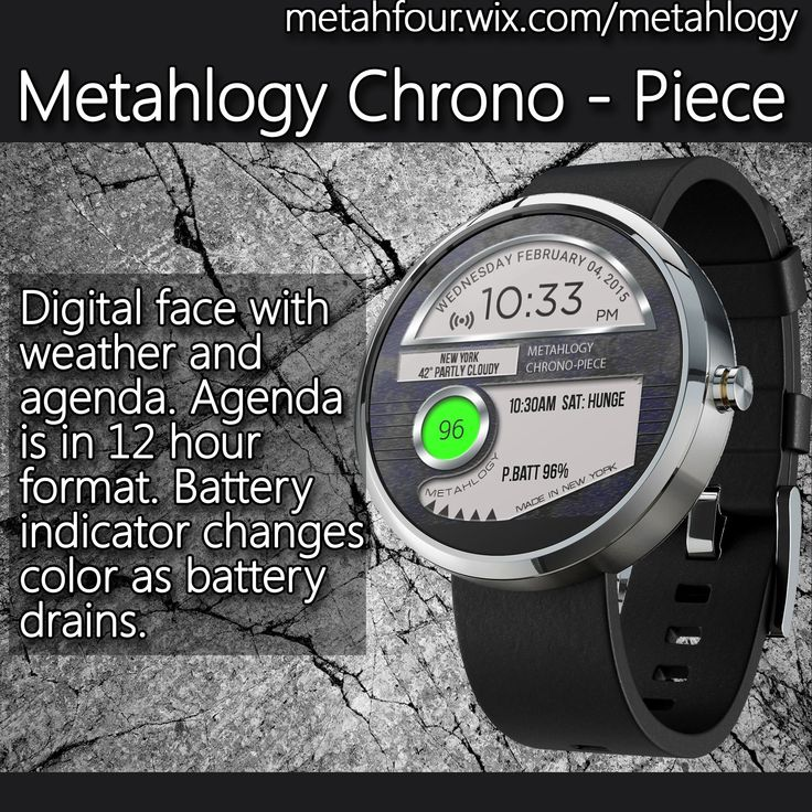 Digital face with weather and agenda Agenda is in 12 hour format - format of an agenda