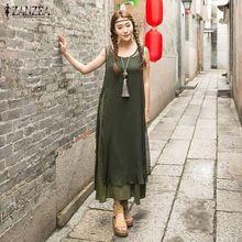 ZANZEA Mulheres 2016 Verão Vintage Longo Maxi Vestido De Seda Rayon Casual Solto Sexy Vestidos Sem Mangas Sólidos Com Outwear Plus Size(China (Mainland))