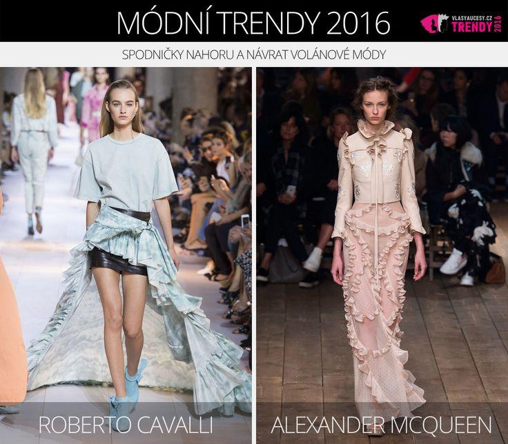 Módní trendy 2016 – spodničky nahoru a volány. (Zleva: Roberto Cavalli a Alexander McQueen.)