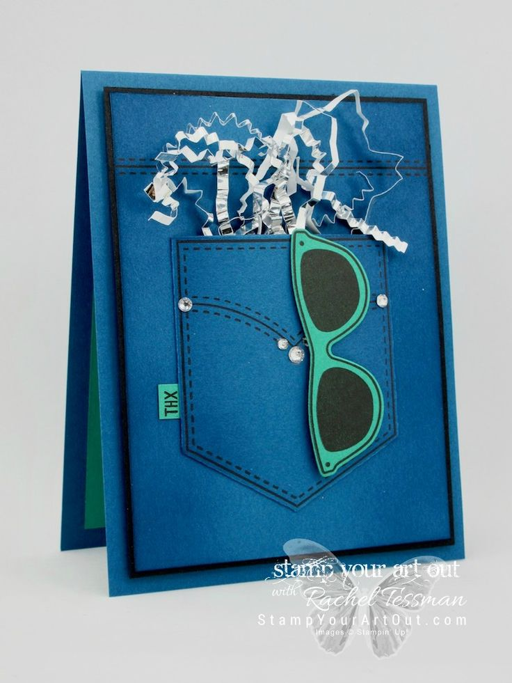 Click here for supplies, measurements AND to watch my quick video to see how to make this denim pocket card using the beautiful 2016-18 In Colors, stamp set images from Pocketful of Sunshine, coordinating Pocket Framelits dies, and some sparkling embellishments...#stampyourartout #stampinup - Stampin' Up!®️️ - Stamp Your Art Out! www.stampyourartout.com