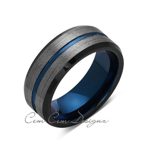 8mm,Brushed Gun Metal,Gray and Black,Blue Tungsten Ring,Mens Wedding Band,Comfort Fit,Blue Ring - LUXURY BANDS LA