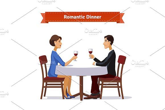 Romantic dinner for two Graphics Romantic dinner for two. Man and woman holding glasses of whine. Table with white cloth and two chai by Iconicbestiary