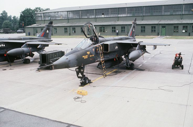 "A British SEPECAT Jaguar GR.1 aircraft of No. 2 Squadron RAF parked on the flight line during ""Tactical Air Meet '78"" at RAF Wildenrath, Federal Republic of Germany, on 15 May 1978. photographer: SSgt. David E. Shaffer, USAF - U.S. Defenseimagery.mil photo DF-ST-84-06979"