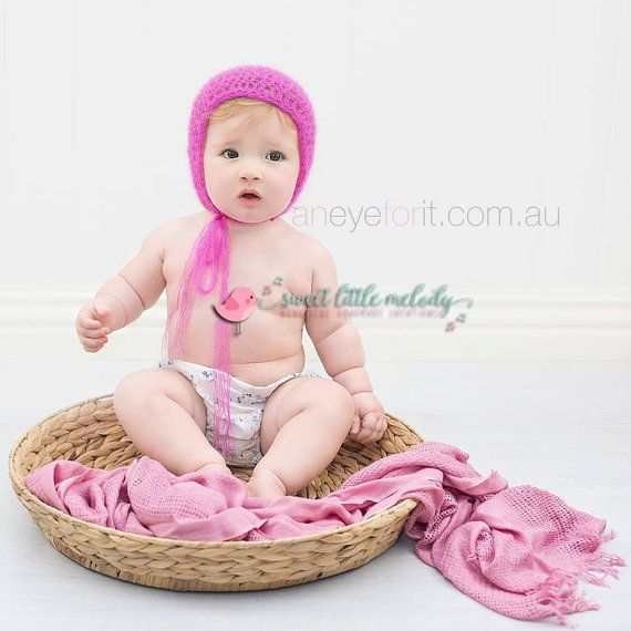 Pink Baby Bonnet Pink Mohair Silk Baby Bonnet by SweetLittleMelody