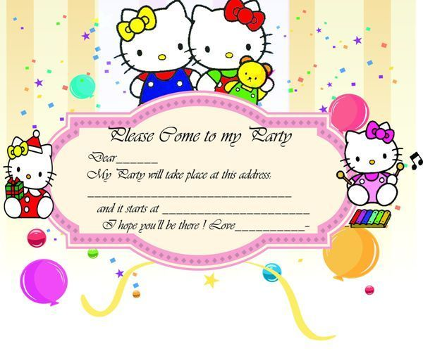 hello kitty party invitations template