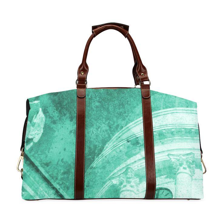'Helsinki Vintage Teal' Classic Travel Bag - @artsadd  #carryall #stylish #trending #travelbags #new #helsinki #bag #accessories #womensfashion #fashion #texture #style #teal #tealgreen #green #artsadd