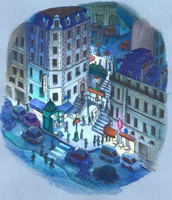 Lamarck Caulaincourt vue de nuit par Jean-Martial Dubois - Dessine moi Paris