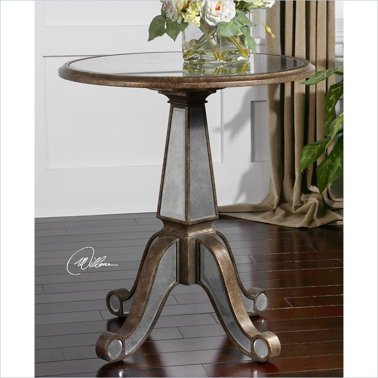 uttermost eraman mirrored accent table in antiqued rustic gold inset
