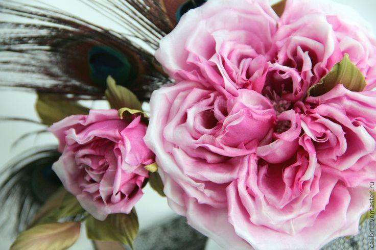 """Купить Комплект аксессуаров - """"Севилья""""- ободок и брошь. Цветы из шелка. - фуксия, бордо, бордовые розы"""