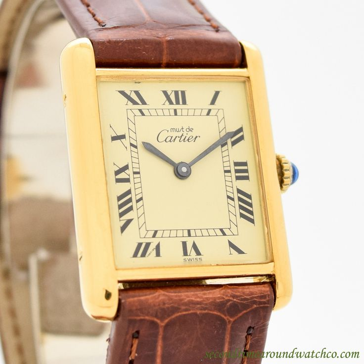 A classic! Just in: A 1990's era Cartier Tank Must de in the Men's Size. This 18K Yellow gold plated timepiece dresses up and dresses down and features a champagne dial with black-colored, Roman numerals, and sword-style hands. (Store Inventory #...    #cartier #mustde #yellowdial #vermeil #classic #timeless #simple #timeonly #dresswatch #classic #vintage #watch #watches #cool #wristwatch #collectible #timepieces #stawc