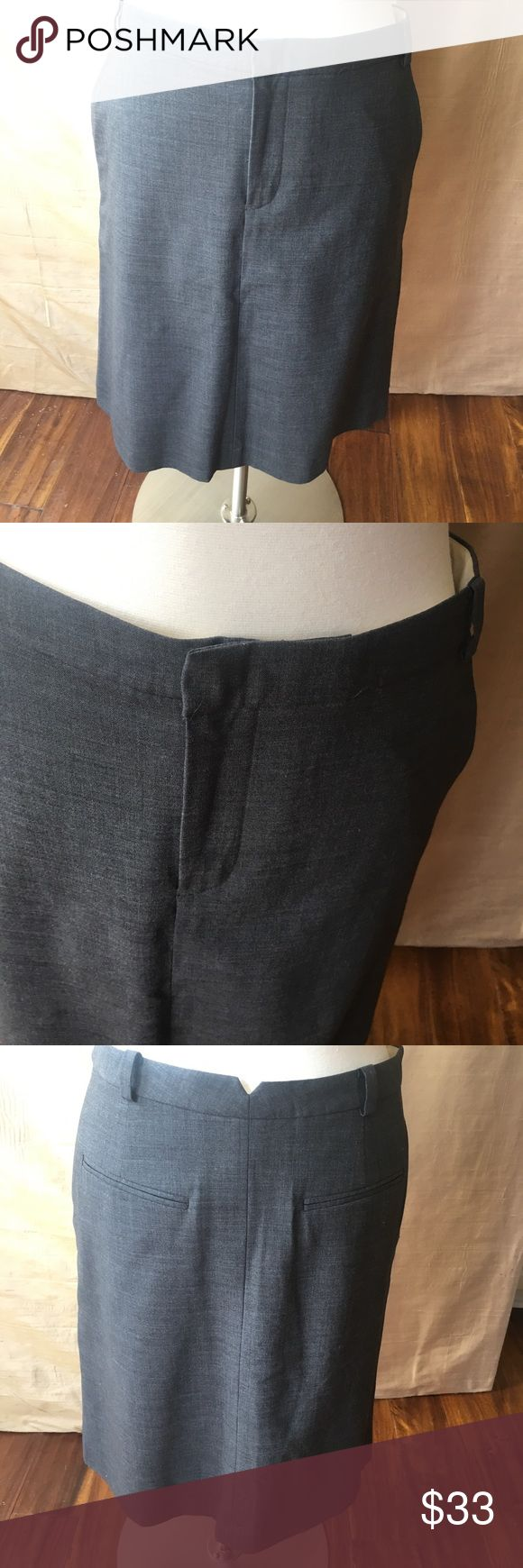 """Banana Republic Grey Wool Skirt - Size 10 Grey wool stretch Banana Republic pencil skirt in perfect condition. Worn twice. Like new. Side pockets and loops for a belt. Lovely work skirt that would look great for a cocktail as well.   Measurements:  Waist 16l Hips 20l Length 23""""  This is their Stretch line so there is some stretch in the fabric. Banana Republic Skirts"""