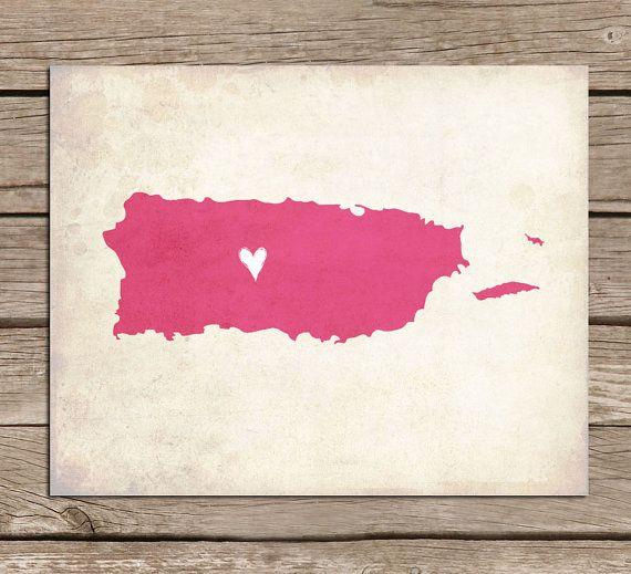 Puerto Rico Love Country Customizable Art Print on Etsy, $16.00