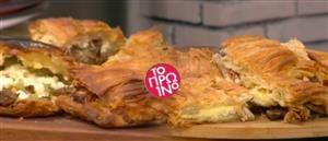 Δείτε πώς μπορείτε να φτιάξετε, με τις οδηγίες του Βασίλη Καλλίδη, πίτα με ψητό χοιρινό, πιπεριές και φέτα ή με κοτόπουλο και μανιτάρια.