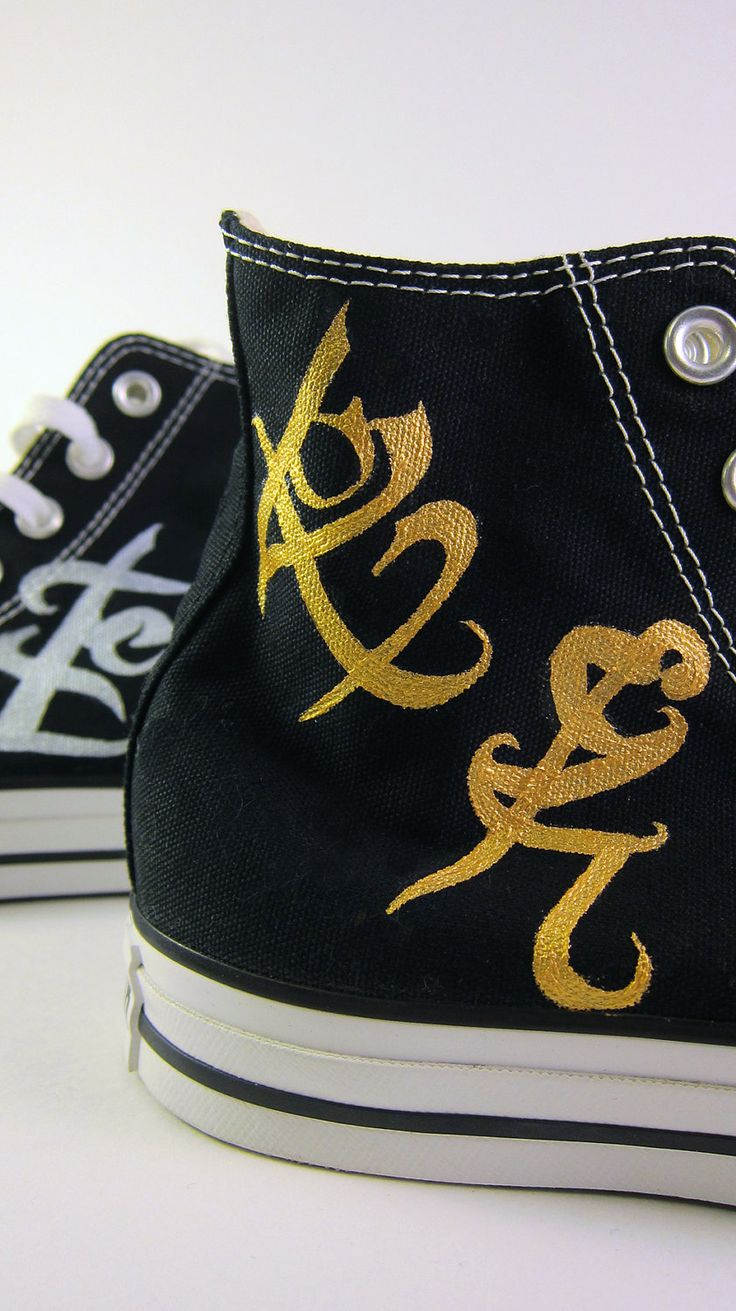 Custom Hand-Painted Mortal Instruments - Infernal Devices Converse All Star Hi-Tops. $95.00, via Etsy.