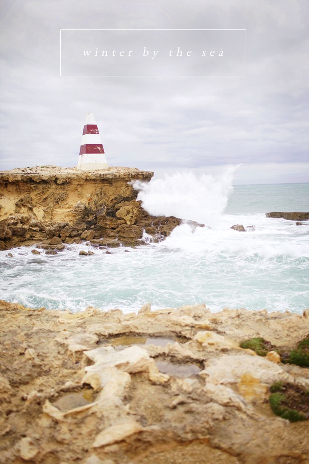 'Winter By The Sea' photograph and artwork by South Australian based artist Emma Steendam • Robe light house with ocean and coastline • South Australia • Adelaide's beaches