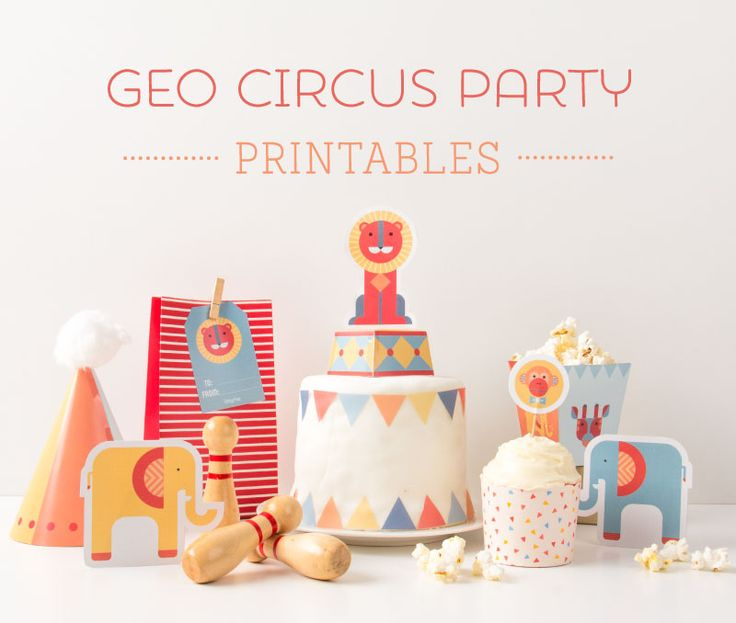 FREE Geo Circus Party Printables perfect for a first birthday or toddlers birthday ~ Tinyme
