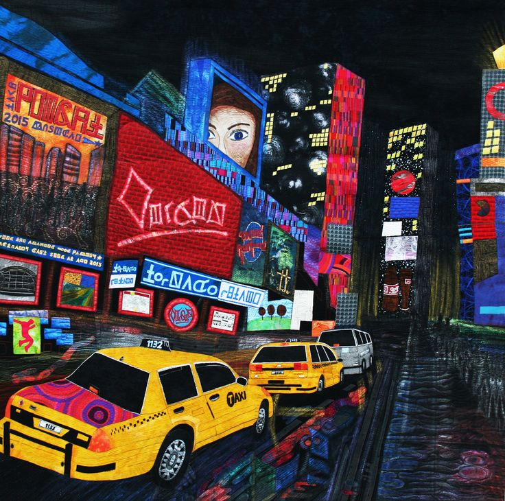 New York Lights - 2nd place in the special exhibit Festival Awareness: Celebrations - Houston International Quilt Festival 2015 #newyorklights #newyorklightsquilt #timessquarequilt #artquilt #quilt #textileart #quiltfestival #houstoninternationalquiltfestival #quiltfestival2015