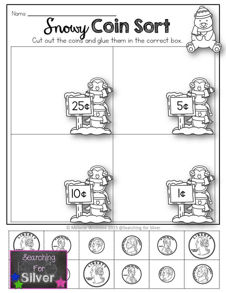 Snowy coin sort and many other winter no-prep printables for kinders!