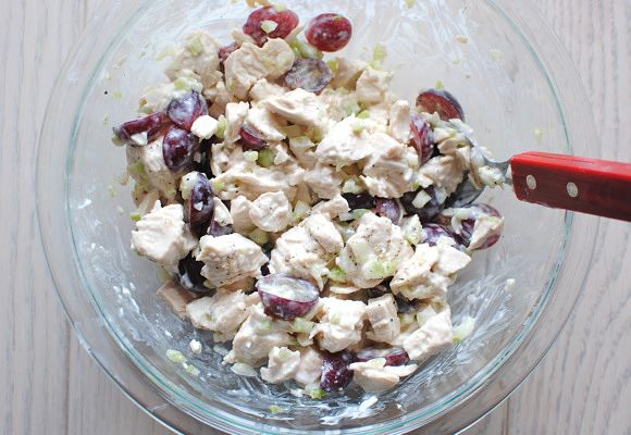Chicken salad with greek yogurt and grapes. I will replace candied pecans for plain ones.